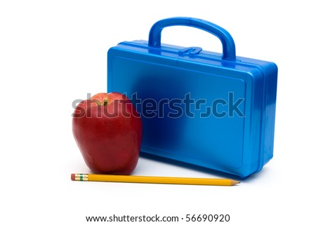 Blue lunchbox with an apple and pencil isolated on white, School Lunches - stock photo