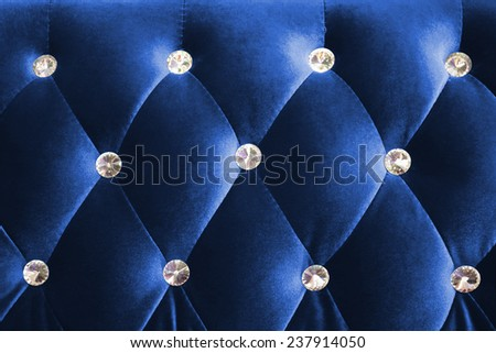 Blue luxurious background and texture shot from a sofa - stock photo
