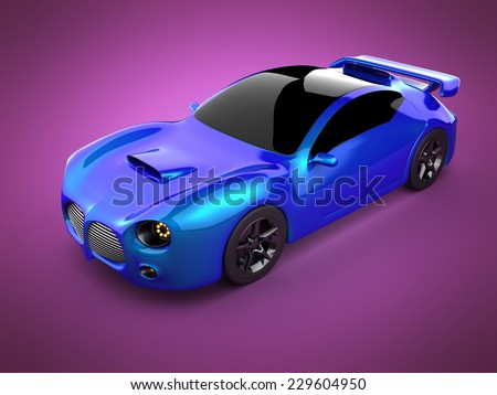 blue luxury brandless sport car on pink background - stock photo