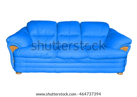 Blue luxury leather sofa isolated on white background, with clipping path.