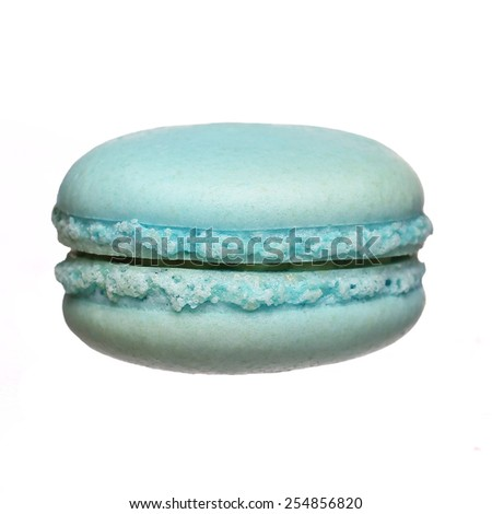 Blue Macaroon isolated on white