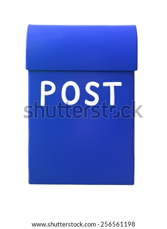 Blue mailbox isolated on a white background - stock photo