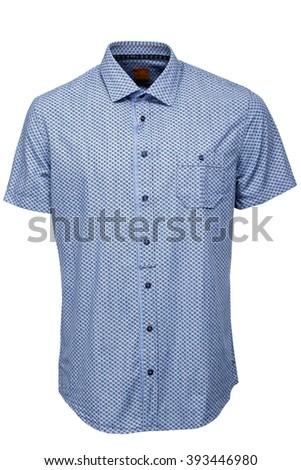Blue male shirt - stock photo