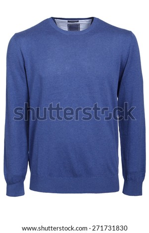 blue male sweater isolated - stock photo