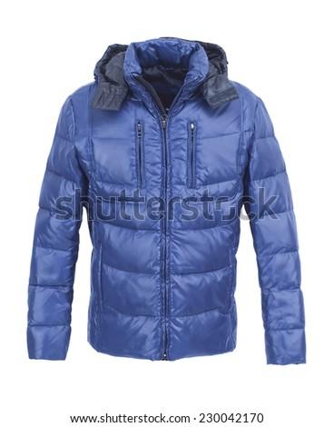 Blue male winter jacket isolated on white background - stock photo