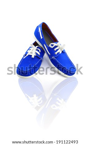 Blue man shoes with reflection isolated on a white background