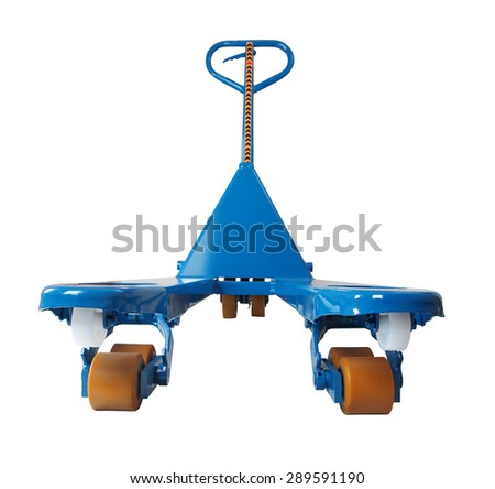 Blue manual hydraulic pallet truck,  jigger,  to lift and move pallets,  isolated on white background, saved path selection. - stock photo