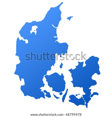 Blue map of Denmark, isolated on white background with clipping path.