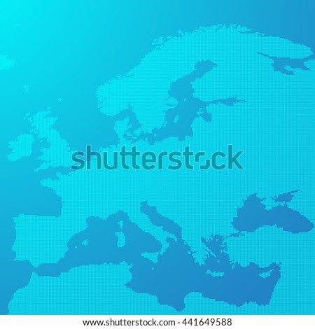 Blue map of Europe in the dots. Europe map illustration. Europe map on blue background. Europe map wallpaper. - stock photo