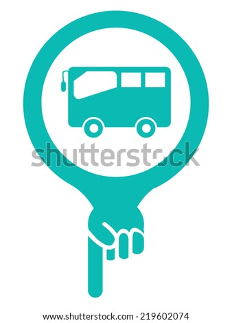 Blue Map Pointer Icon With Bus, Bus Stop, Bus Station or Bus Rental Service Sign Isolated on White Background  - stock photo