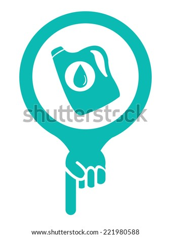 Blue Map Pointer Icon With Car Lube and Oil Change Service or Car Maintenance Services Sign Isolated on White Background  - stock photo