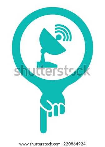 Blue Map Pointer Icon With Satellite Station and Satellite Dish Service Sign Isolated on White Background  - stock photo