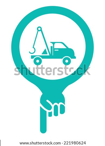 Blue Map Pointer Icon With Tow Car, Roadside Assistance Service Sign Isolated on White Background  - stock photo