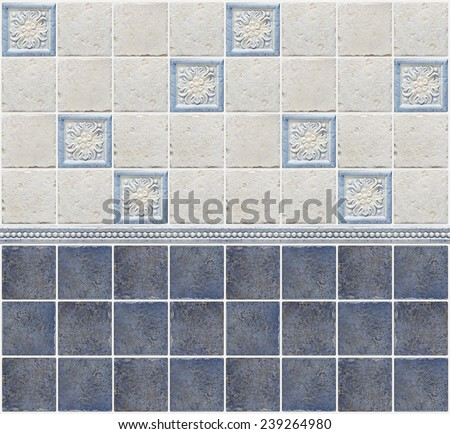 blue marble tiles with floral decorations - stock photo