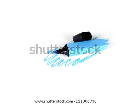 blue marker and the drawn dark blue lines on a white background - stock photo