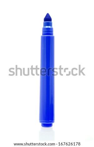 Blue marker isolated on white background  - stock photo