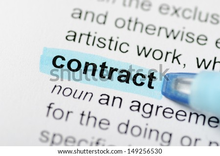Blue marker on contract word  - stock photo