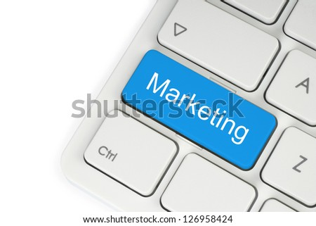 Blue marketing keyboard button on white background