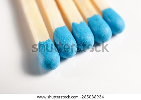 Blue matches on a white background.