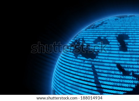 Blue matrix globe, Africa and Saudi Arabia. Elements of this image furnished by NASA. - stock photo