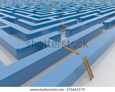 Blue maze Labyrinth 3D Render with Ladder and Planking, Smart solution concept - stock photo