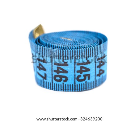 Blue measuring tape macro shot. Shallow DoF - stock photo
