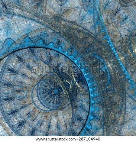 Blue mechanical abstract circle fractal background - stock photo