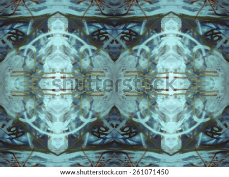 Blue Medallions tapestry design in cool colors with a dimensional effect.will repeat seamlessly. - stock photo