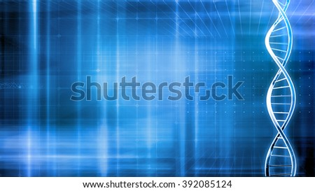blue medical background with dna and waves  - stock photo
