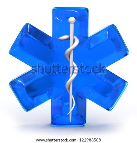 blue medical symbol isolated over white background - stock photo