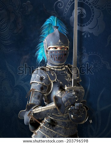 Blue medieval knight - stock photo