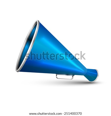 Blue megaphone from the isolated on white. - stock photo