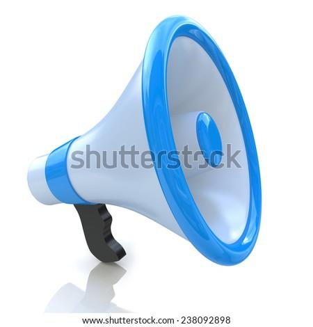 Blue megaphone or loudspeaker  - stock photo