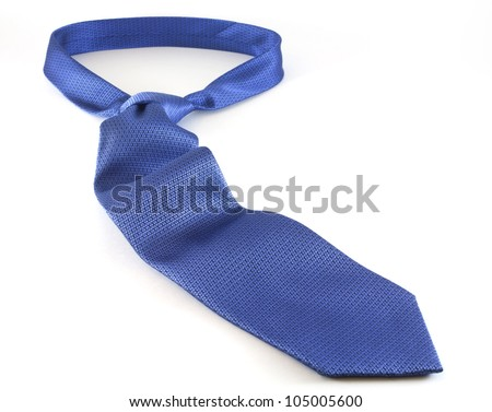 Blue Men Necktie with white background. - stock photo