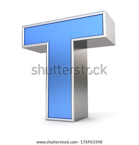 Blue metal alphabet 3D collection - letter T - stock photo