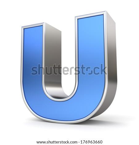 Blue metal alphabet 3D collection - letter U - stock photo
