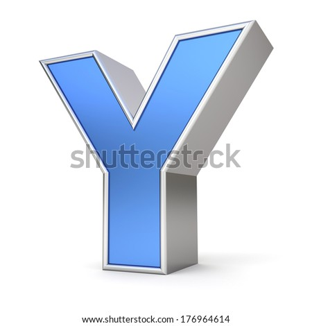 Blue metal alphabet 3D collection - letter Y - stock photo