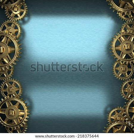 blue metal background with cogwheel gears - stock photo
