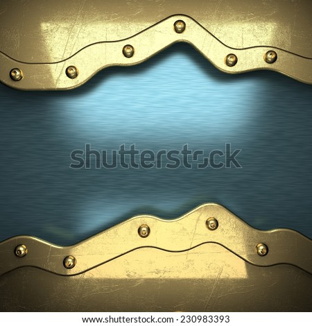 blue metal background with yellow element