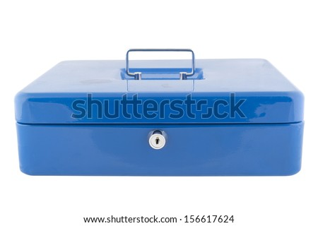 Blue metal box with a handle - stock photo