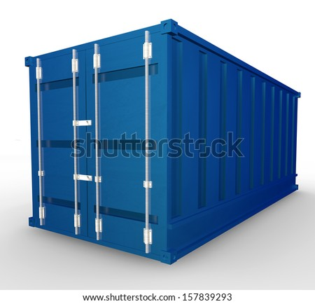 Blue metal containers, transport