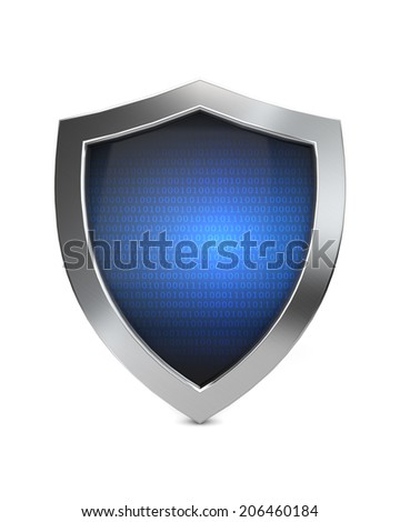 blue metal cyber shield protection isolated white background - stock photo