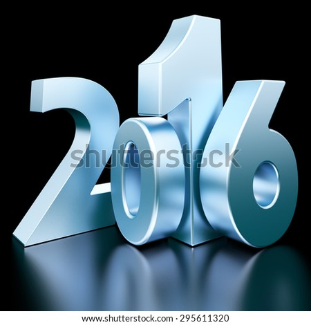 Blue metal 2016 new year 3d rendered image  - stock photo