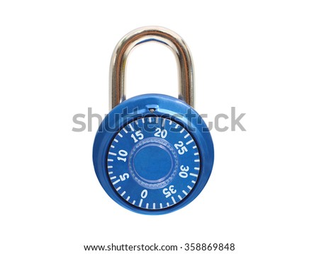 Blue Metal Padlock isolated on white background