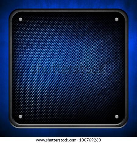 blue metal plate - stock photo