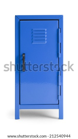 Blue Metal School Locker Front View Isolated on White Background. - stock photo