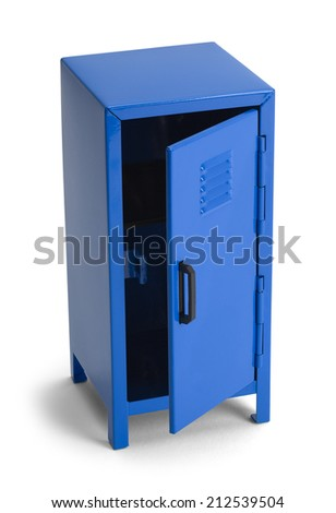 Blue Metal School Locker Open Isolated on White Background. - stock photo