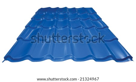 Blue metal tile isolated on white - stock photo