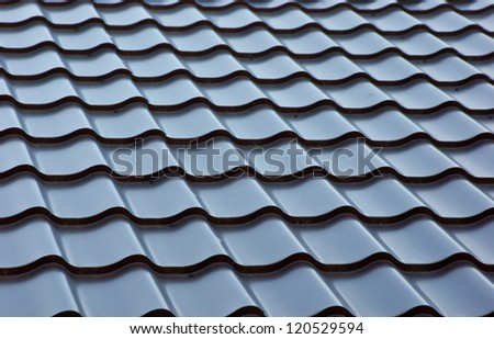 blue  metal tile roof, background - stock photo