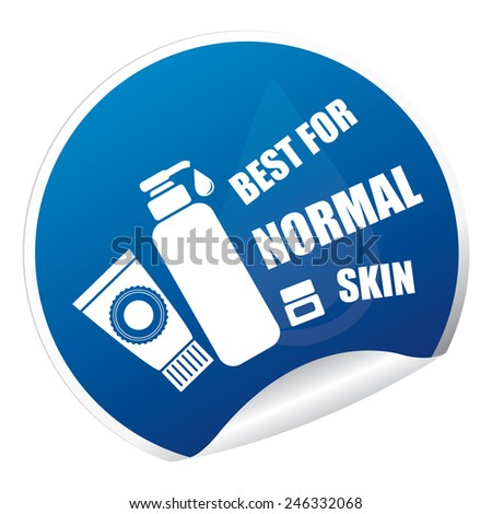 Blue Metallic Best for Normal Skin Cosmetic Container Sticker, Icon or Label Isolated on White Background  - stock photo